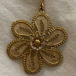 Anthropologie gold floral necklace